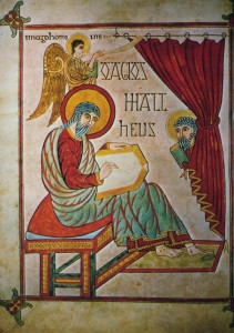 The evangelist St. Matthew from the Book of Lindisfarne