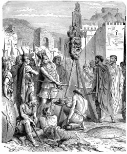 The Romans trying to buy their salvation from the Gaulish chief Brennus,