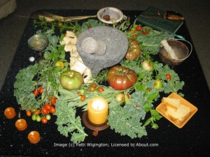 Lammas, or Lughnasadh, the Sabbat which celebrates the beginnings of the harvest. It is about the cycle of birth, life, death and rebirth -- the grain god dies, but will be reborn again in the spring.